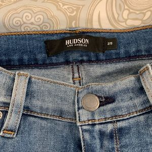 Hudson skinny with contrasting denim inset.
